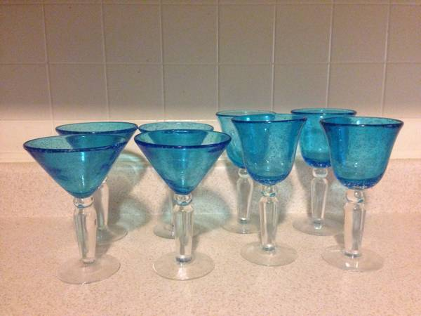Blue Pottery Barn Glasses- set of 8 - $15 (san marcos)