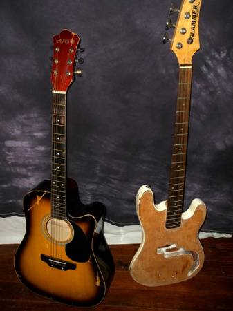 Acoustic Electric Guitar AND Bass Guitar ONE PRICE FOR BOTH- $50 OBO - $50 (San Marcos)