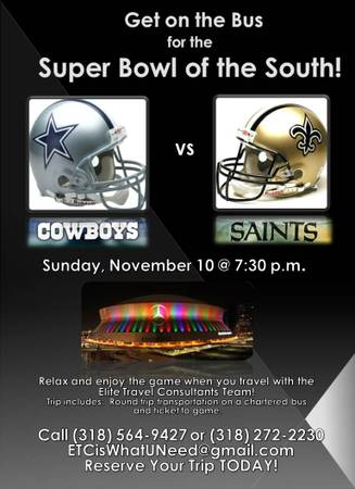 Cowboys vs  Saints Bus Trip