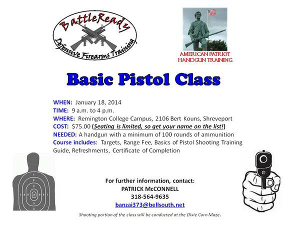 Basic Pistol - January 18th -  75  Shreveport