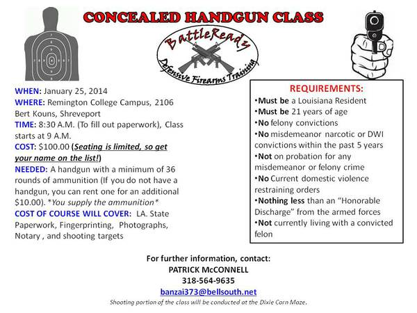 Concealed Carry Course - January 25th  Shreveport