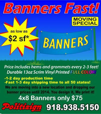 Big sale on banners  Tulsa