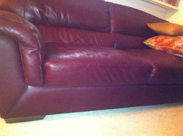 Burgundy Leather Couch  (Real Leather) - $225 (Bossier City)