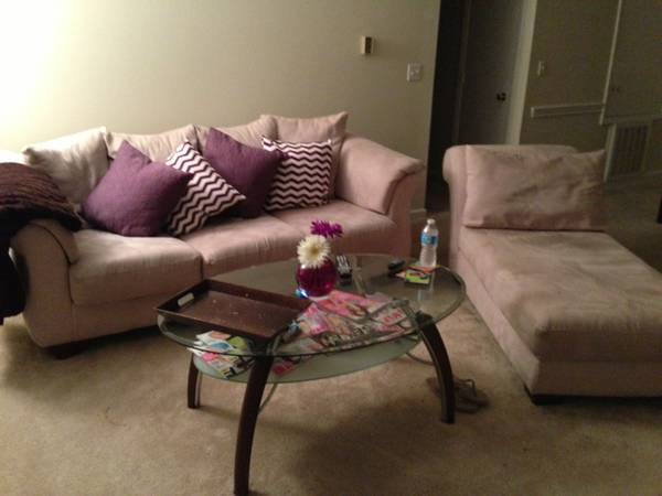 Ashley Furniture Ecru Colored Couch and Chaise Set - $400 (Bossier City, LA)