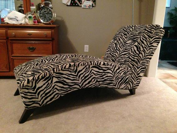 Zebra chaise lounge chair - $100 (Greenwood)