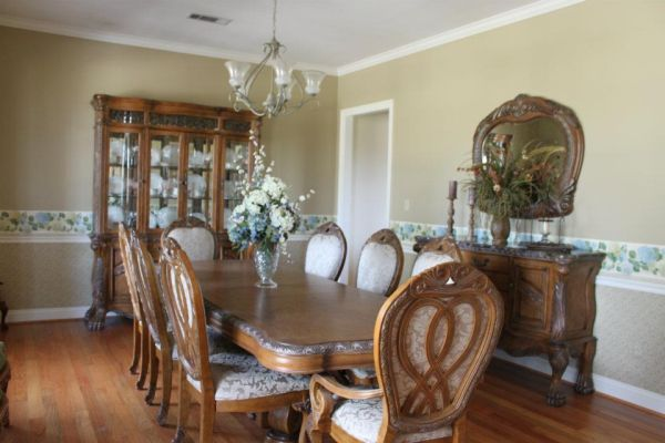 DINING ROOM FURNITURE TABLE, 8 CHAIRS, SIDEBOARD, MIRROR, CHINA CABINE - $4000