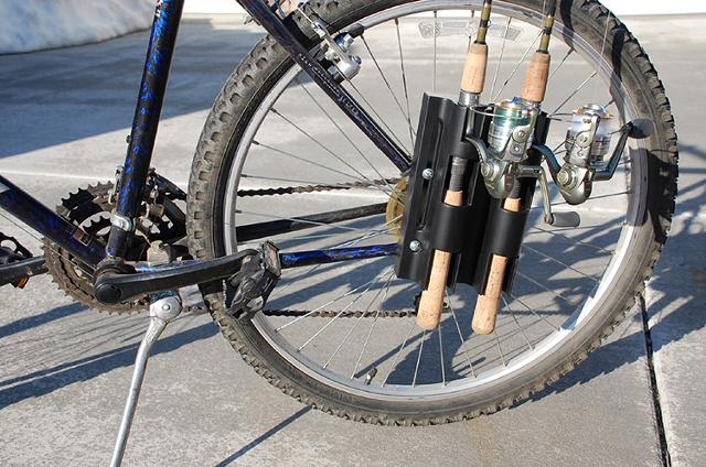 36 95  Bikefisherman  USA made fishing rod mounting system for bicycles  the environmentally friendly way