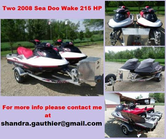 Two 2008 Sea Doo Wake 215 HP Jet Skis - $2460