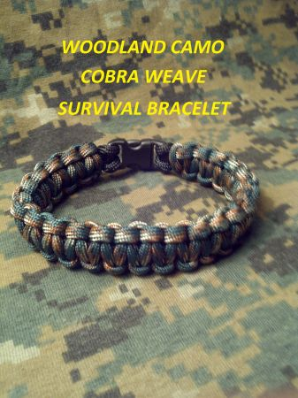550 PARACORD WOODLAND CAMO SURVIVAL COBRA BRACELET - $6 (Shreveport Bossier City)