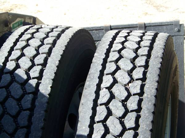 8 Bridgestone Semi-Truck Drive Tires 8 Polished Aluminum Rims - $3600 (Mounted on truck)