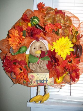 FALL DECO MESH WREATH - $35 (SHREVEPORT LA)