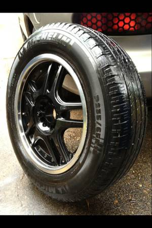 18 black rims wheels tires (universal 5 lug) - $500 (Minden)