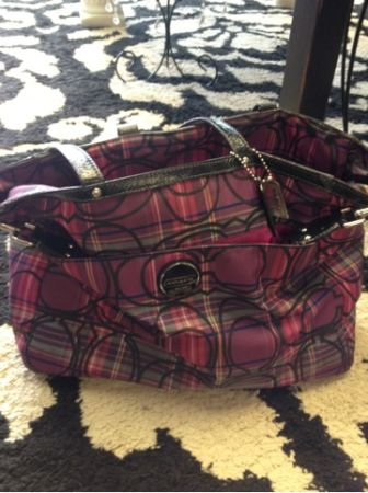 Authentic pinkblack coach diaper bag  - $175 (Shreveport )
