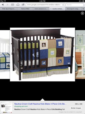 Nautica crib bedding whales and sailboats - $20 (Shreveport)