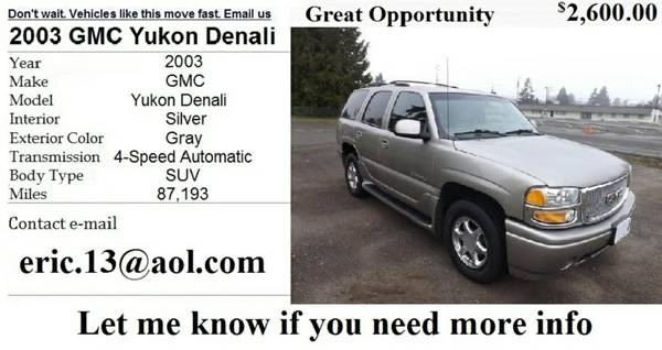 Great Opportunity 2003 GMC YUKON DENALI 3rd Row Seat (7 Pass) - $2600 (shreveport )