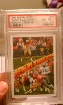 rare find, Joe Montana, Jerry Rice card signed by both - $450 (shreveport)