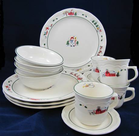 (4) Pfaltzgraff Christmas Snow Village 16 piece dish set   - $90 (Shreveport)
