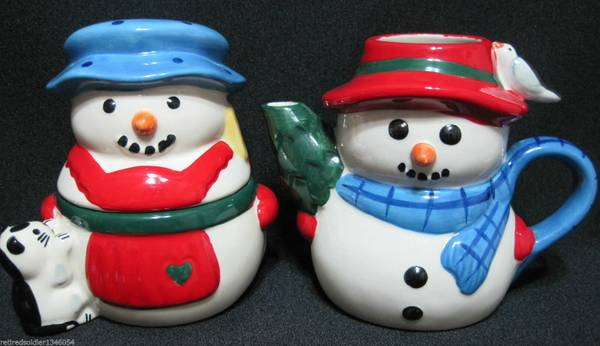Christmas Pfaltzgraff Snow Village Snowman creamersugar bowl set  - $20 (Shreveport)