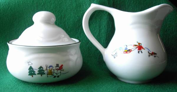 Christmas Pfaltzgraff Snow Village Sugar Bowl and Creamer set - $20 (Shreveport)