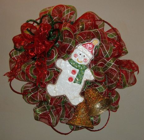 Gingerbread Snowman Christmas Wreath - $60 (East Shreveport)