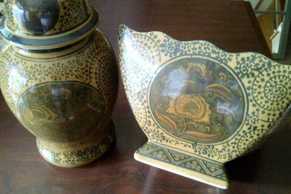 New Ceramic Decorative Canister and Bowl Set - $40 (Minden)