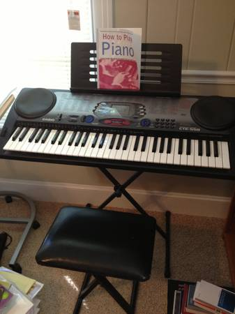 Casio CTK-558 Keyboard with stand, bench, and charger, like new - $125 (Shreveport)
