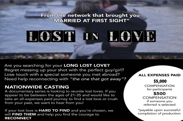 5000 in Pay for New Reality Show Lost In Love