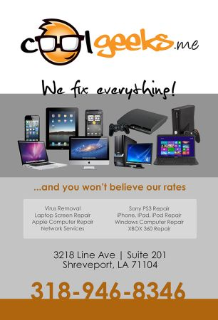 Computer Repairs at Cool Geeks ( Get Great Service Pay Less) $49 (3218 Line Ave Suite 201, Shreveport,  LA)