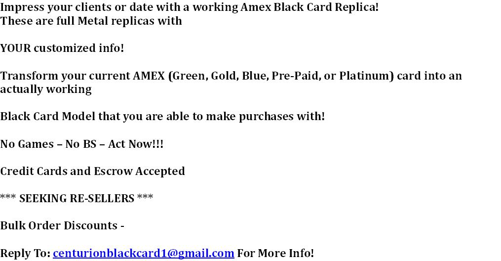 Centurion AMEX Black Card - Working Replica - Act Now