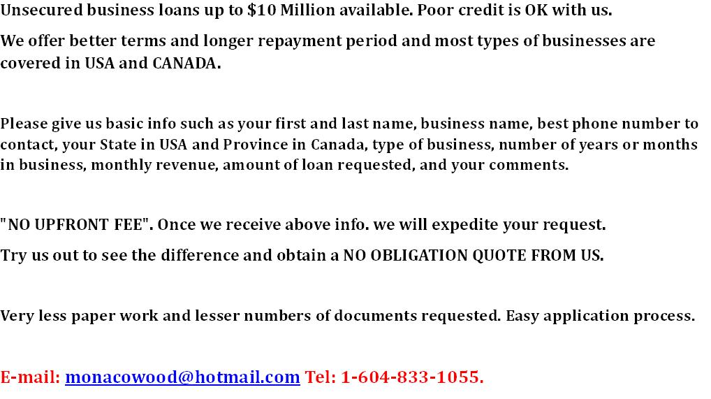 LARGE unsecured Business Loans Available less paper workmin  documentation
