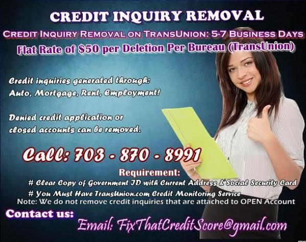 TransUnion Inquiry Removal Service  Mo Upfront Fee