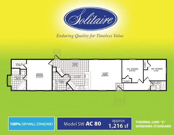 All 2013 Solitaire Homes MUST GO... 100 TapeTextured Walls, Plywwod (Built To Outlast The Warranty Period )