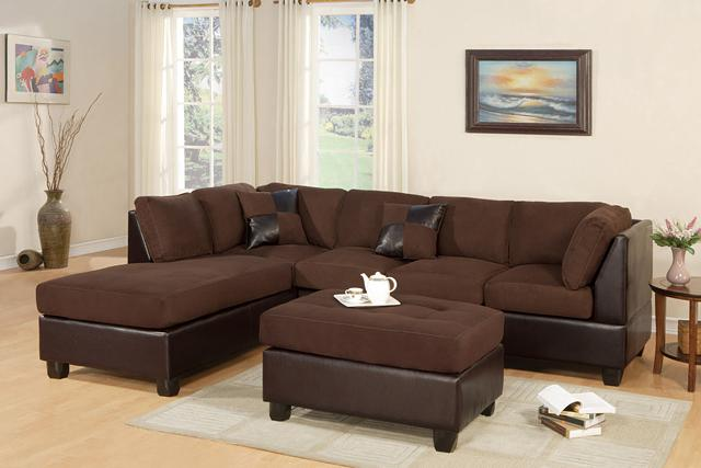 599  Plush Chocolate Microfiber Sectional With Free Ottoman