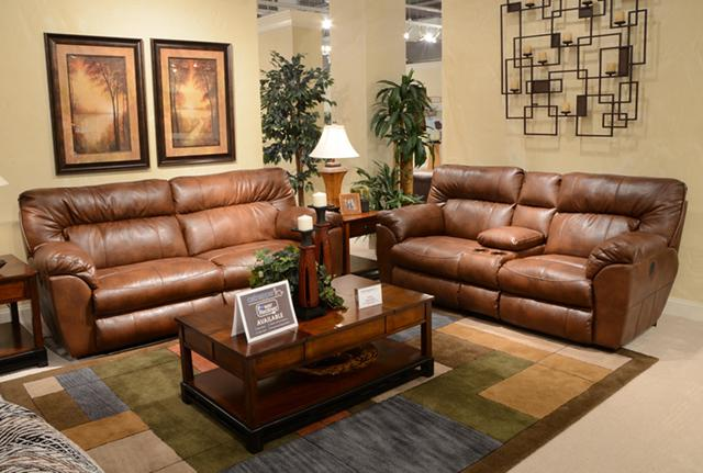 829  Extra Wide Chestnut Color Leather Reclining Sofa --Free Delivery