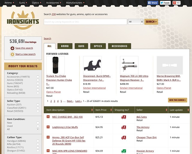 Find in-stock ammo and deals on guns  reloading equipment  and optics -- IronSights com