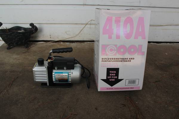 Package Deal Vacuum Pump And 410A Freon - $200