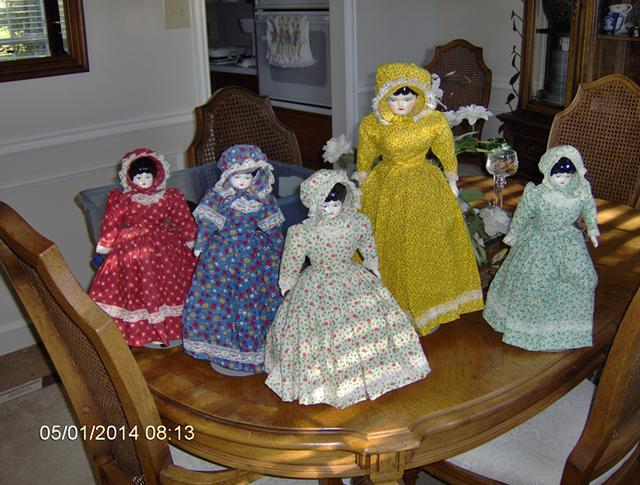 10  For the Doll Collector Porcelain Doll wUnique Dress  and matching Bonnet