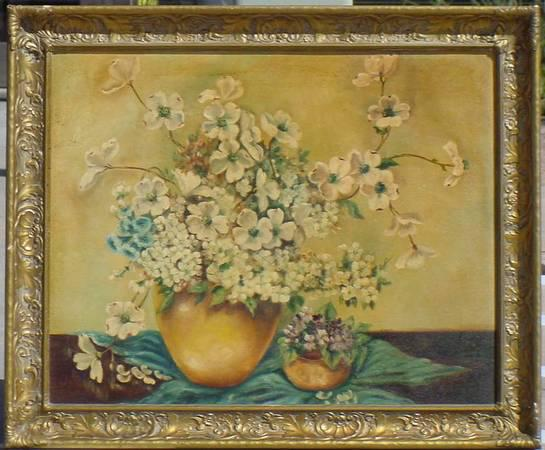 275  Antique FLOWERS Painting 24x30 Ornate shell frame