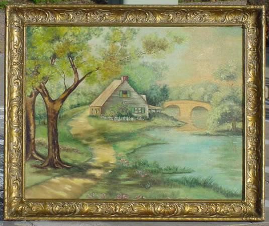 275  Antique Ward LANDSCAPE Painting 24x30 Ornate shell frame SIGNED New York  Mass