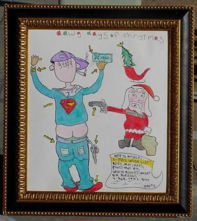 37  gangster OUTLAW SANTA CLAUS drawing Texas artist JAC outsider Painting