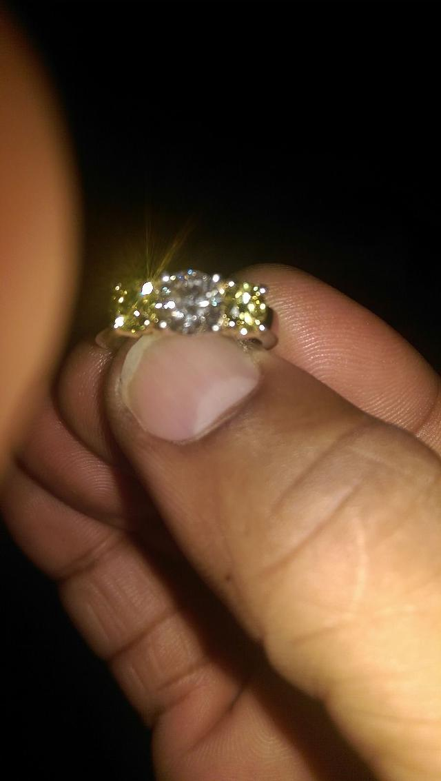 5 000  Canary Yellow and White Diamond Ring