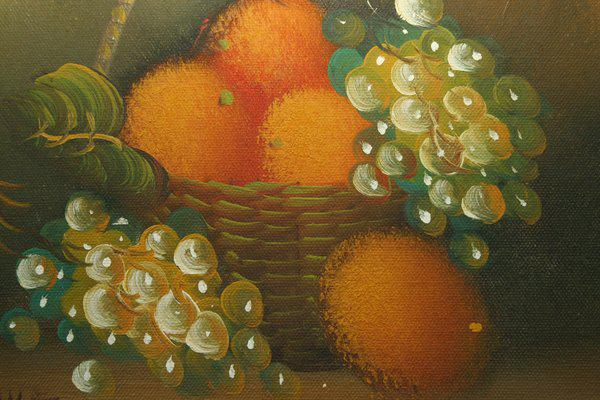 80  Vintage Original Fruit Basket Oil Painting Signed O  Oliver