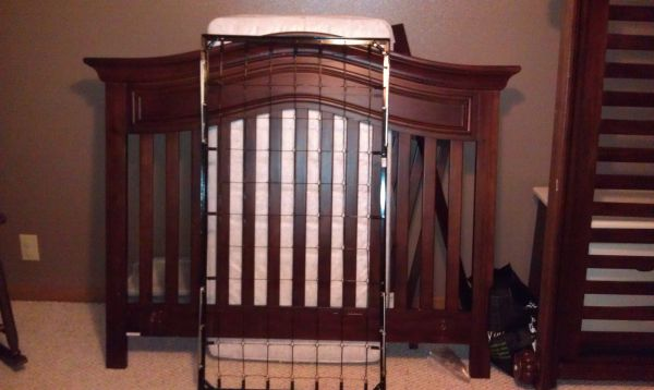 Cherry convertible crib, mattress, bedding - $350 (Nashville)