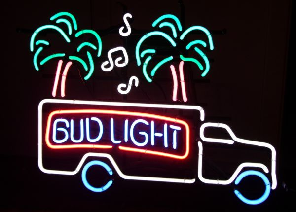 Neon Bud Light Sign - Truck, Music Notes, Palm Tree - Budweiser Beer - $250 (East Dallas - White Rock LakeCasa View)