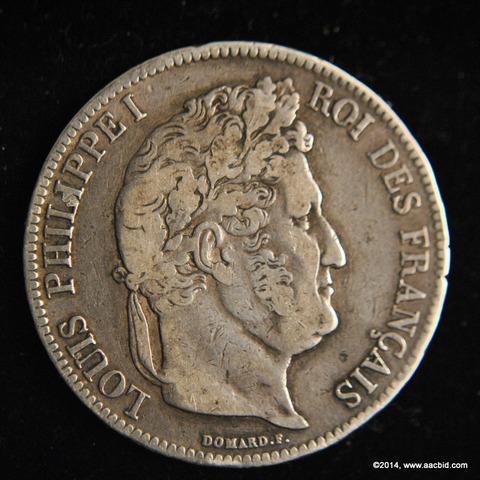 1837W France Silver 5 Francs Coin Louis Philippe I