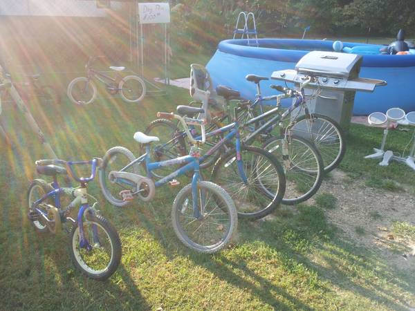 Swing set, grill, bikes, dog pen and kitchen table - $1000 (De kalb)