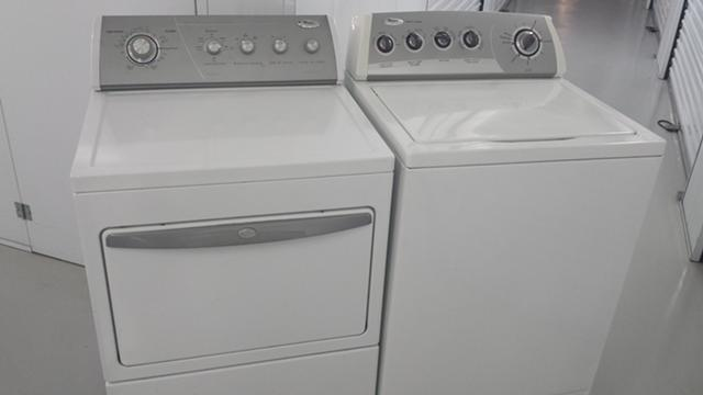 $265, $265 _____ White Whirlpool Washer electric Dryer Silver Panel Super Capacity