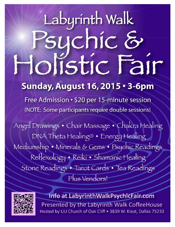 Aug  16 Labyrinth Walk Psychic and Holistic Fair debuts