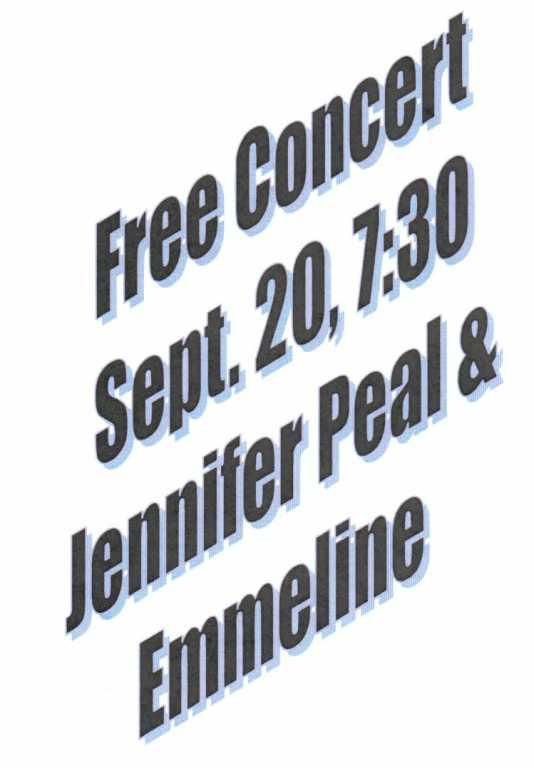 Jennifer Peal  Emmeline in Concert together - Sept  20 - No cover charge