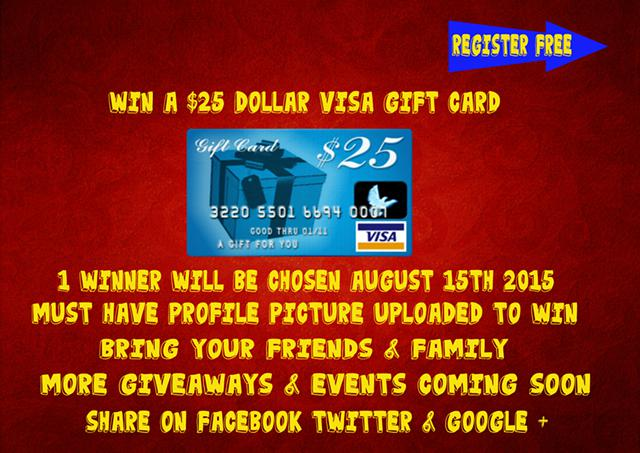 You Could Win A  25 Visa Gift Card August 15th Event